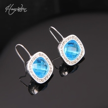 Thomas Style Pink Blue Beveled CZ Crystal Square Drop Earring, European Glamour Jewelry Soul Gift for Women TS-E45