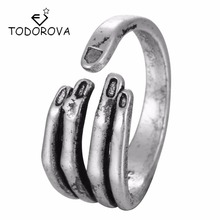 Todorova Real Pure 925 Sterling Silver Unique Adjustable Hand Ring for Women Girls Christmas Party Gift Jewelry Anillo de plata
