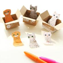 Cute Mini Boxed Cat Post-It Notes Index Flag Sticky Notes Paper Stickers Memo Pad Bookmark Marker TRD