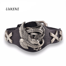 Hot sale ride to live bracelets Wolf Skull Retro bracelet men Genuine Leather Bracelet(China)
