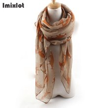 Imixlot Women Fox Animal Printed Long Soft Cotton Large Scarf Shawl Voile Stole Winter Autumn Warm Ladies Scarves Gift(China)