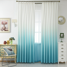 Luxury Grey Curtains For The Living Room Green Gradient Semi-blackout Cloth Drapes For the Bedroom Blue Tulle Cortinas WP185&20(China)