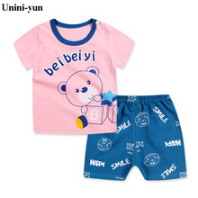 Unini-yun Summer Baby Clothing Sets Children Boys Girls Kids Brand Sport Suits Tracksuits Cotton Short + Pants 2pcs Pink Bear