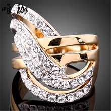 10pcs/lot Hot Selling models selling fine jewelry, ladies finger ring CZ diamond ring 24K gold-plated inlay