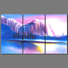 Colorful river mountains island decoration purple blue landscape boat wall art picture Canvas Painting for living room  unframed