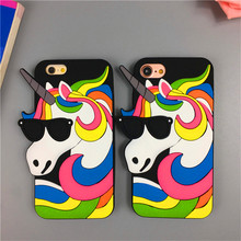 Buy Hot New Fantastic 3D Rainbow Unicorn Horse Animal Cartoon Soft Silicone Phone Cases iPhone 8 7 plus 6 6s plus Rubber Cover for $4.21 in AliExpress store