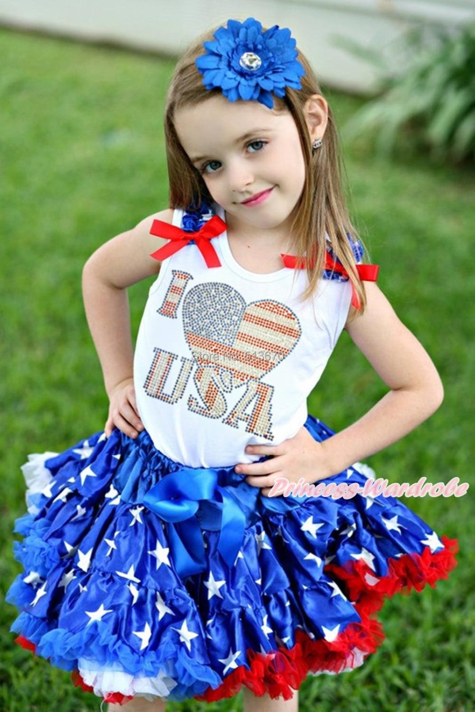 4th July Rhinestone I LOVE USA Top Patriotic Star Pettiskirt Girl Cloth Set 1-8Y MAPSA0590<br>