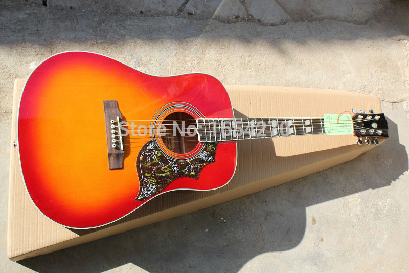Free shipping 2015 new hummingbird DOVE 41 inch acoustic guitar can add fishman guitar 151101(China (Mainland))