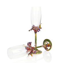KEYTREND High-grade Crystal Champagne Flutes Stand Metal with Enamel Creative Style Goblet Glass Wedding Birthday Gifts AECL029