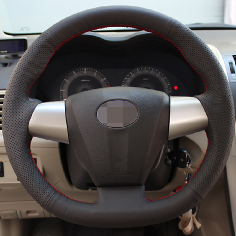 Hand-stitched Black Leather Steering Wheel Cover for Toyota Corolla RAV4 2011 2012 Car Special(China (Mainland))