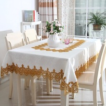 TC008 High Quality Lace Edge Covers for Table Europe Style Wedding Tablecloth Embroidered Home Party Table Clothes(China)