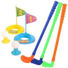 11.11 Set of Plastic 3 Golf Putter Club 2 Balls 2 Putting Cup 2 Flags 2 Tees Kids Toy - Color Random(China)
