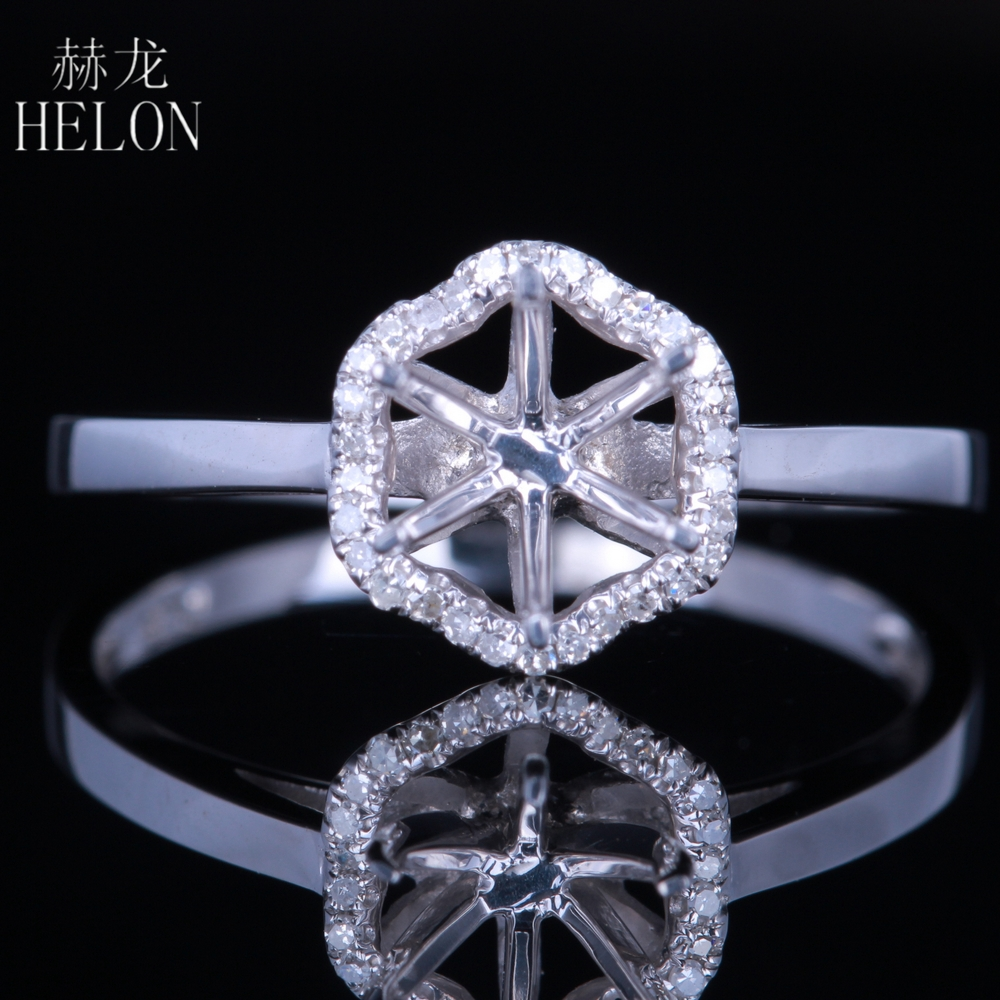 HELON Natural Diamonds Ring Solid 10k White Gold Round Cut 6-6.5mm Semi Mount Engagement Wedding Ring Women Trendy Fine Jewelry