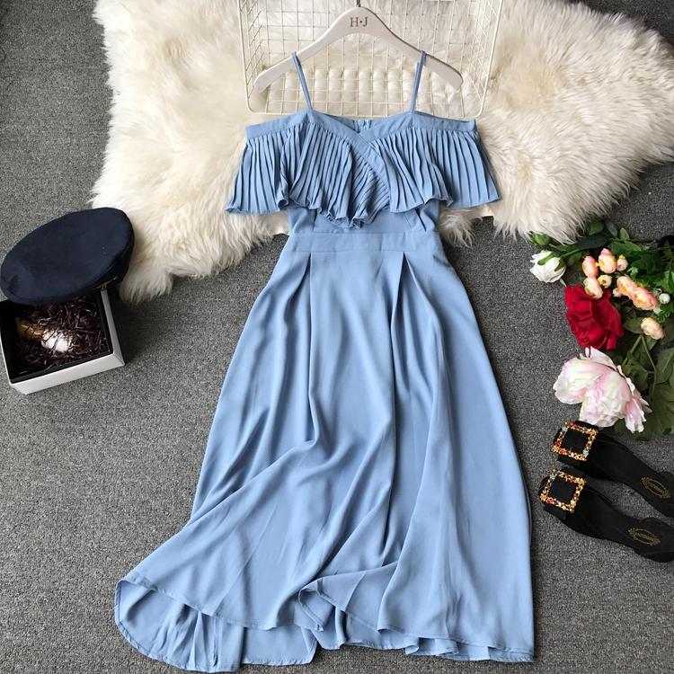 2019 Spring Women Chiffon Pleated Braces Sling Spaghetti Strap Goffer Long Dress Ladies Ruffles Empire Drapped Swing Slip Dress 193