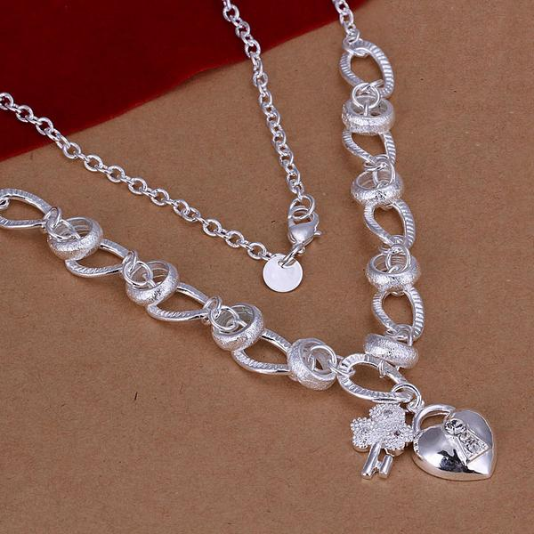 Women's Fashion Jewelry 18'' pendant chain 925 sterling silver charm Inlaid Heart Lock And Flower Key pendants necklaces(China (Mainland))