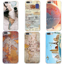 World Map Travel Plans Clear Hard Phone Cases For iPhone X 8 8 Plus Aeroplane for iPhone 5 5S SE 6 6S Plus 7 7Plus Phone cover(China)