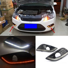2PCS White+Yellow Daytime Running DRL Fog Lamps For Ford  Focus 2009-2010z