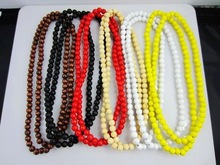 6 Colors High quality wood beads Chain Necklace Ball Chain wood necklace for Hip hop