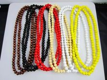 6 Colors High quality wood beads Chain Necklace Ball Chain wood necklace for Hip hop(China)