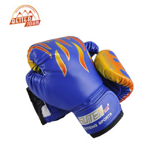 SUTEN Children Flame Mesh Palm Boxing Gloves Professional Sanda Boxing Training Glove Breathable PU Leather MMA Flame Gloves(China)