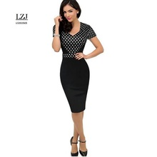 LZJ Free delivery door woman's clothes new summer dress retro pencil dress wave point stitching Slim dress vestidos plus size L1(China)