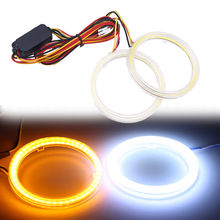 1 Pair Universal 60/70/80/90/100/110mm COB LED Angel Eyes Headlight Halo Ring Warning Turn Signal Lamp White And Yellow Bulbs