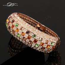 Luxurious Unique Chic Colorful Crystal Pave Cubic Zirconia Bangles & Bracelets Rose Gold Color Fashion Jewelry For Women DFB002