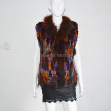 SJ005 New Arrival Multi Colored Women Raccoon Collar Vest Hand Knit Rabbit Fur Vest with Tassels Colorful