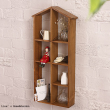 House Vintage Brown Solid Wood Wall Display Shelf