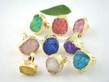 10pcs Druzy, Drusy Gold color Druzy Quartz Bezel Ring, Gold color crystal drusy druzy Gem Stone rings in Mixed color