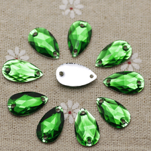 100pcs 10.5*18mm Green Resin Sew on Rhinestones Waterdrop Silver Flatback Droplet Sewing stones 2 holes For Dress Decoration