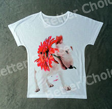 Track Ship+Vintage Retro Good Feeling T-shirt Top Tee White Bull Terrier Dog with A Red Flower in Mouth 0826