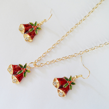 2017 Celebrating Christmas,fashion charm Christmas bell pendant necklace & earrings jewelry sets,new year gifts for women.