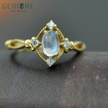 Gemore Oval Natural White Gemstone 0.6CT Moonstone 925 Sterling Silver Women Fashion Ring Fine Jewelry(China)