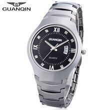 Guanqin hombres reloj de cuarzo Calendarios 10atm artificial Diamond dial  de acero de tungsteno reloj( c6de686d7e93