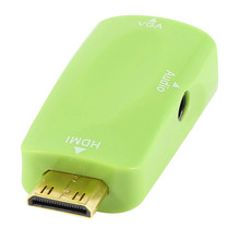 Green Mini HDMI to VGA Adapter Converter With 3.5 Jack Audio Cable Digital to Analog Converter For DVD Media Player