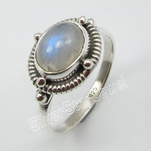Silver RAINBOW MOONSTONE Anel Étnica Tamanho 7.75! Made In India(China)