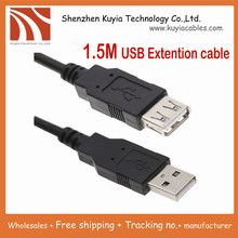 10pcs/lot!!Free Shipping+ Good quality New 1.5M 5Ft Usb extension cable Am to Af Black Color +wholesales(China)