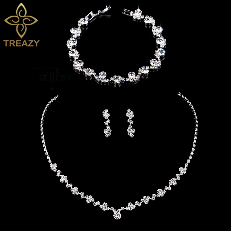 TREAZY Necklace Earrings Bracelet Wedding-Jewelry-Sets Choker Crystal Rhinestone Silver-Color title=