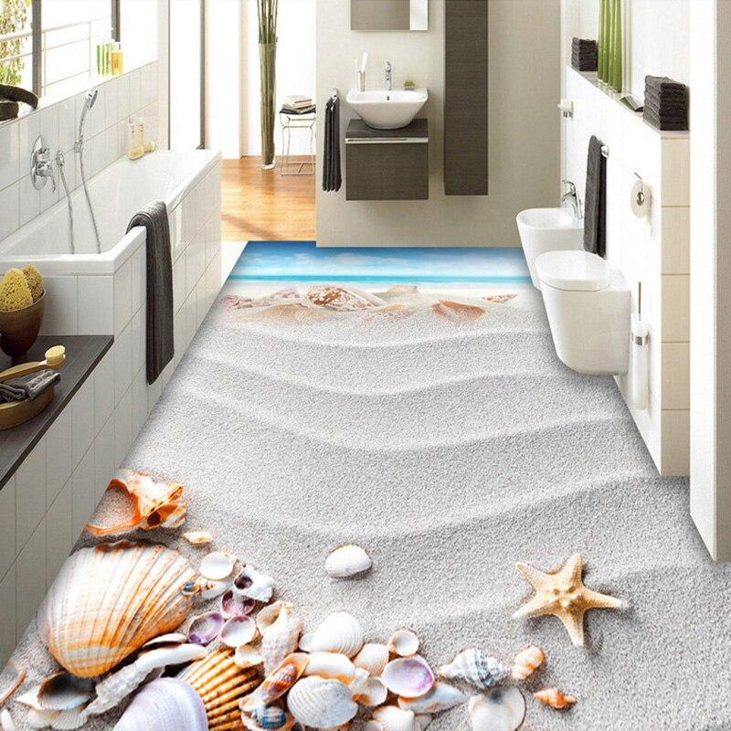 pvc self adhesive waterproof 3d floor tiles wallpaper modern beach shell photo mural bathroom living room