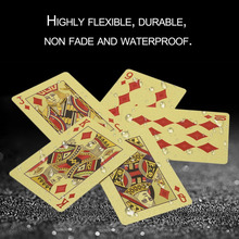 Portable Size Durable 24K Gold Foil Plated Playing Cards Adult Play Game Gold Foil Poker Card Playing Cards Best Gift free shipp(China)