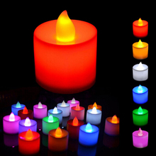 24 PCS /  BOX  Candle Shape festival Fliker Flameless 6 Colors Candles Light For Wedding Party Holiday Decoration free shipping