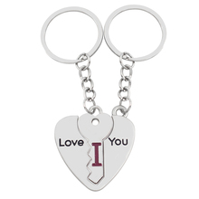 "Silver Heart Key Letter"" I Love You ""Keychain keyring Car Key Chains Couples Girlfriend Boyfriend Lovers Valentine Gifts Present"