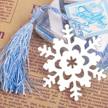 50pcs/lot Snowflake Silver Bookmark Elegant Ice-Blue Tassel Favor Winter Theme Wedding Favor Metal Book Markers