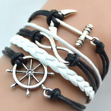Hot Rope Bracelets Women Men Handmade Adjustable Rudder Anchor Charms Multilayer Bracelet Wristband All-match Pulsera 4 Colors