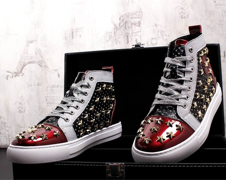 ERRFC Personalized Fashion Men High Top Casual Shoes Luxury Star Rivets Charm Mixed Colors Ankle Boots Man Trending Leisure Shoe 11 Online shopping Bangladesh