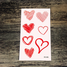 WU&MO HC-255 Red Heart Body Art Sexy Harajuku Waterproof Temporary Tattoo For Man Woman Henna Fake Flash Tattoo Stickers(China)