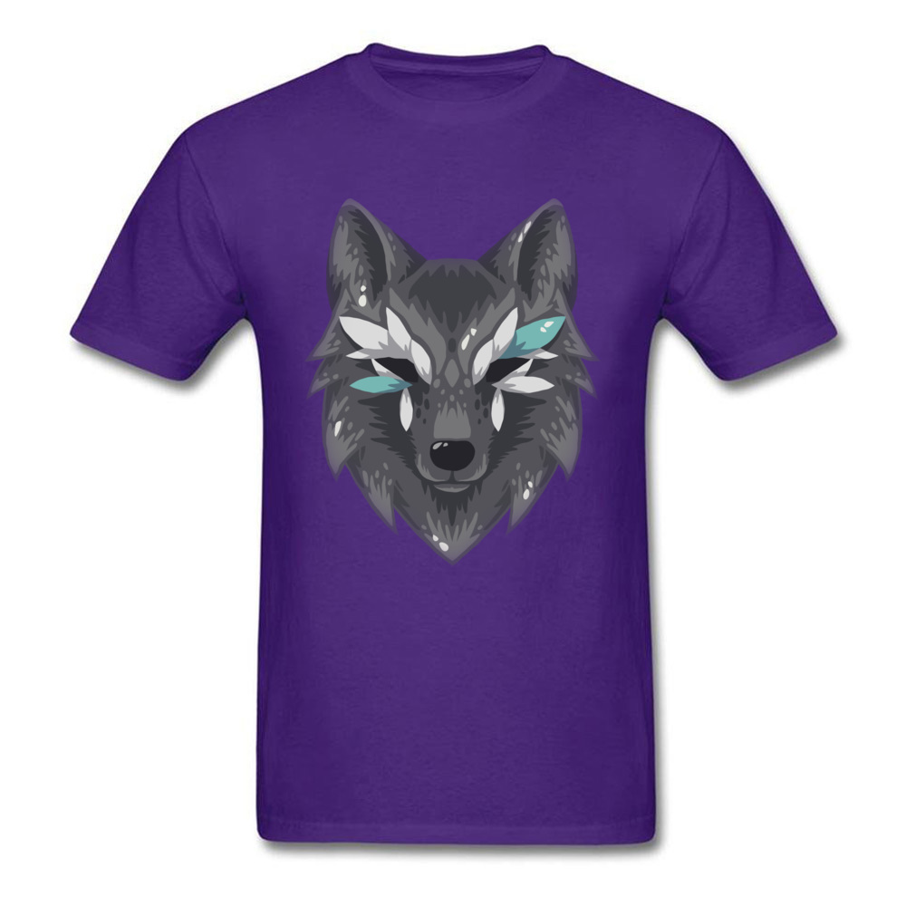 The Wolf Men Graphic Normal Tops & Tees Round Collar Summer Fall 100% Cotton Top T-shirts Design Short Sleeve T Shirts The Wolf purple