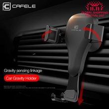 CAFELE Gravity reaction Car Mobile phone holder Clip type air vent mount GPS car phone holder with 2 in 1 retractab cable
