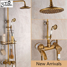 "New Free shipping bathroom shower faucet 8""Antique Brass Adjust Height Handheld Shower Bath Tap Wall Mount Shower Set(China)"